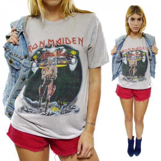 Vintage 80s Iron Maiden Somewhere On Tour T Shirt Sz L
