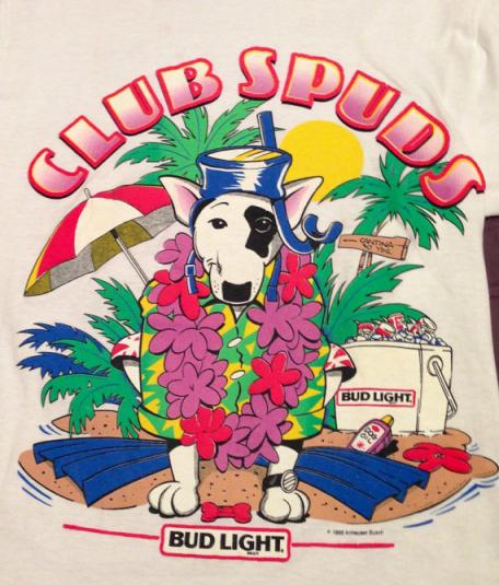 Vintage 80s SPUDS MACKENZIE Club Spuds Bud Light T Shirt
