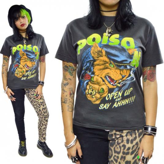 Vintage 80s Poison Open Up And Say Ahhh!!! T Shirt Sz M