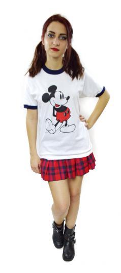 Vintage 80s Mickey Mouse Walt Disney Ringer T Shirt