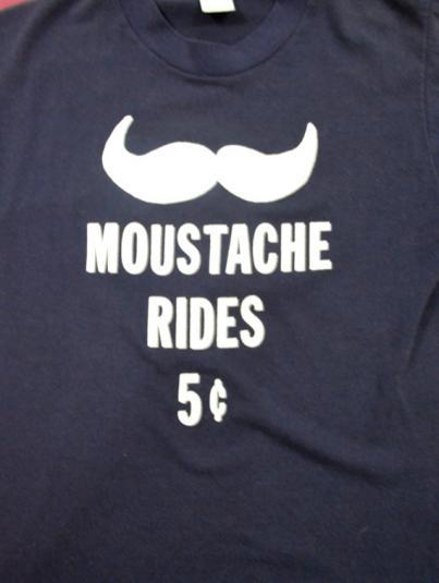 Vintage 80s Moustache Rides T Shirt
