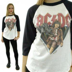 Vintage 80s AC/DC North American Tour Raglan Jersey T Shirt