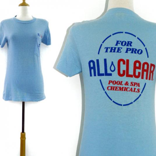 Vintage 80s All Clear Pool & Spa Chemicals T Shirt Sz S