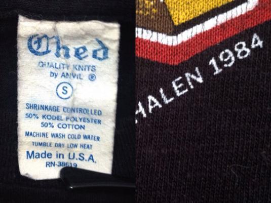 Vintage 80s VAN HALEN 1984 Tour Of The World T Shirt