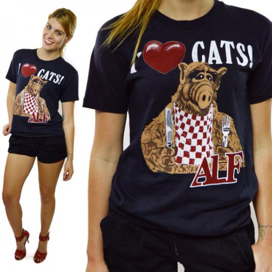 Vintage 80s Alf I Love Cats T Shirt Sz M
