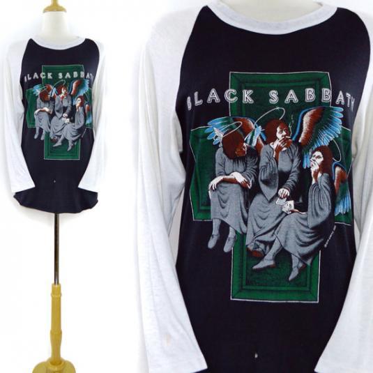 Vintage 80s Black Sabbath Heaven and Hell Raglan Jersey Sz L