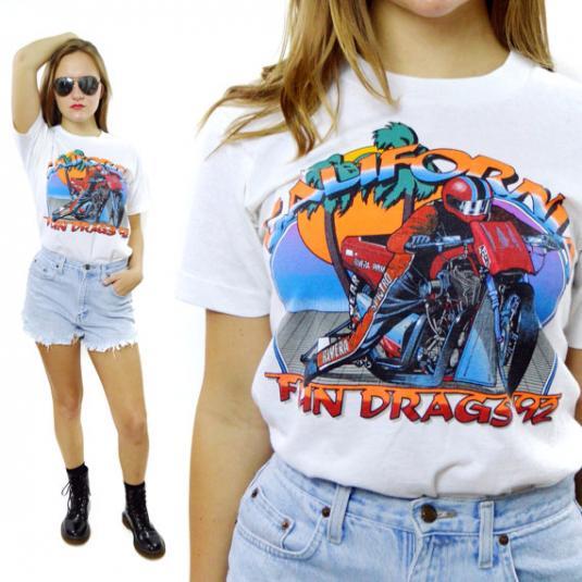 Vintage 90s California Fun Drags Motorycle Racing T Shirt