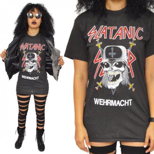 Vintage 80s Slayer Slatanic Wehrmacht T Shirt Sz M
