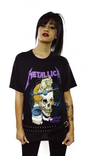 Vintage 80's Metallica Damaged Tour Pushead T Shirt Sz L
