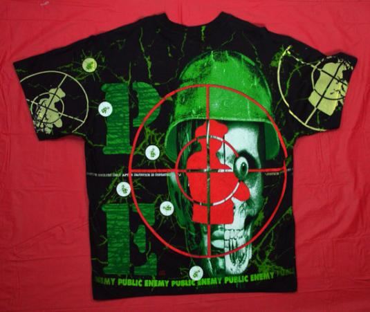 Vintage 90s PUBLIC ENEMY All Over Print Bullseye Rap T Shirt