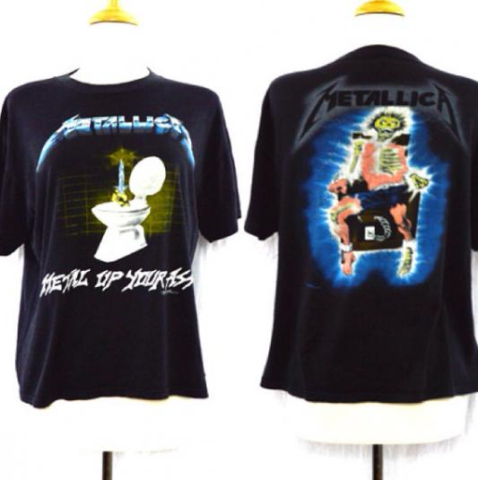 Vintage 80s METALLICA Metal Up Your Ass 50/50 T Shirt Sz L