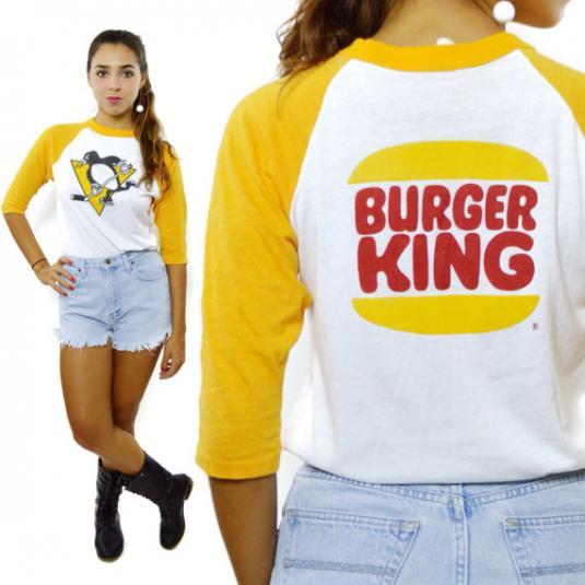 Vintage 80s Penguins Hockey Burger King Raglan Jersey
