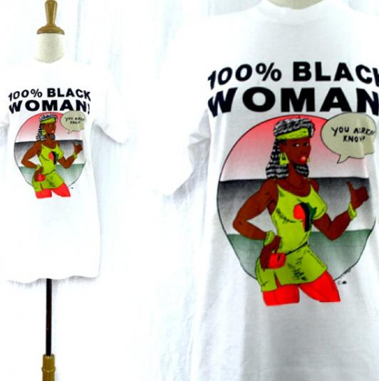 Vintage 90s 100% Black Woman T Shirt Sz M