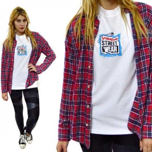 Vintage 80's VISION Street Wear Skater Safety Pin T Shirt