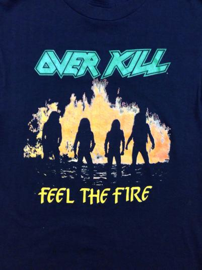 Vintage 80s OVERKILL Feel The Fire Tour 1986 T Shirt