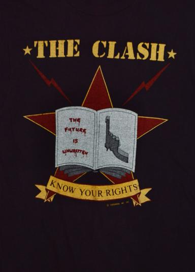 Vintage 80s The Clash Know Your Rights T Shirt Sz L