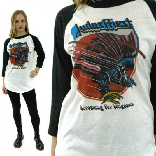 VTG 80s JUDAS PRIEST Screaming For Vengeance Jersey T Shirt