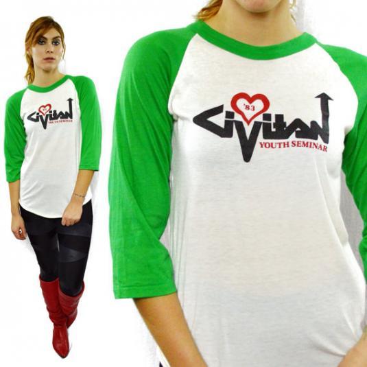 Vintage 80s Civitan Youth Seminar Raglan Jersey T Shirt