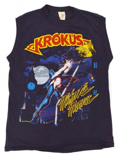 Vintage 80s Krokus Midnite Maniac Blitz Tour T Shirt