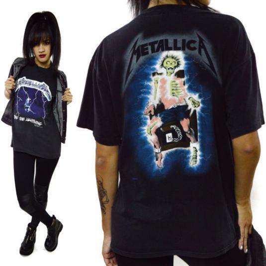 Vintage 80s Metallica Ride The Lightning T Shirt Sz L