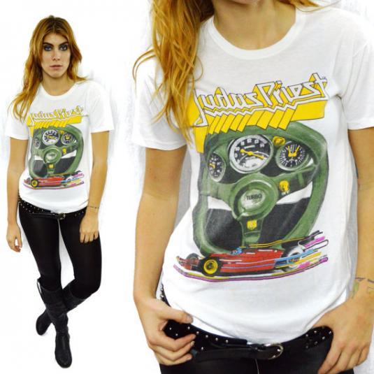 Vintage 80s JUDAS PRIEST Turbo Rare Metal 50/50 T Shirt Sz L