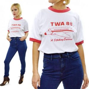 Vintage 80s TWA 86 A Striking Success Ringer T Shirt