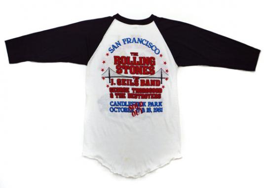 Vintage 80s The Rolling Stones San Francisco Jersey Sz M