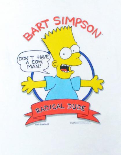 Vintage 80s Bart Simpson Radical Dude Ringer T Shirt Sz M