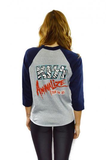 Vintage 80s KISS Animalize Tour Raglan Jersey T Shirt