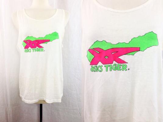 Vintage 90s Asics Tiger Tank Top T Shirt Sz L