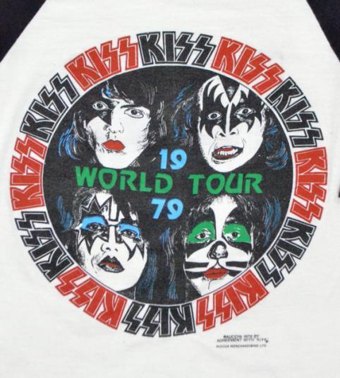 Vintage 70s KISS World Tour 1979 Raglan Jersey Sz S
