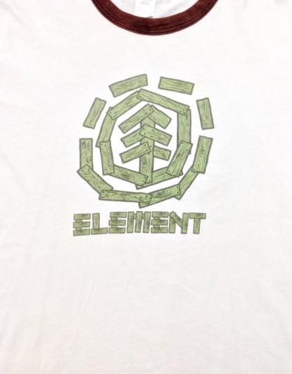 Vintage 90s ELEMENT Skateboarding Skater Ringer Tee T Shirt