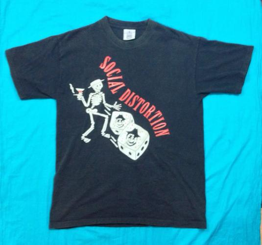 Vintage 90s SOCIAL DISTORTION Skelly Bad Luck Tour T Shirt S