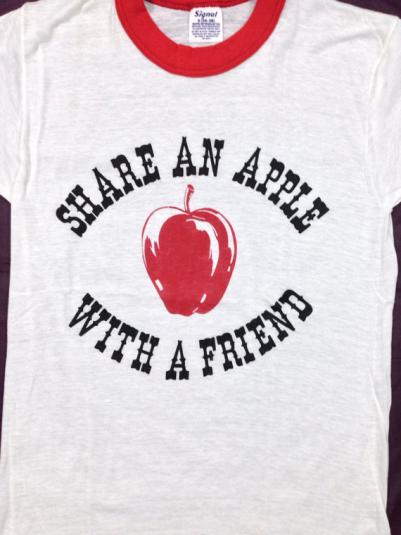 Vintage 80s Share An Apple With A Friend Ringer T Shirt