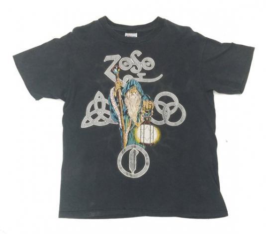 Vintage 80s Led Zeppelin IV Zoso Wizard T Shirt Sz L