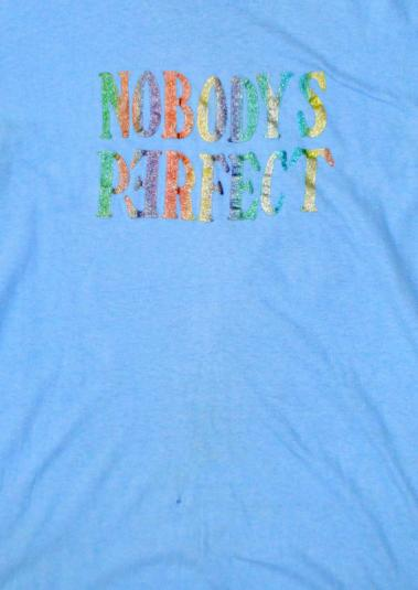 Vintage 70s Nobody's Perfect Iron-On Hanes T Shirt Sz L