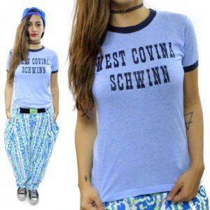 Vintage 80s West Covina Schwinn Cyclist Ringer T Shirt