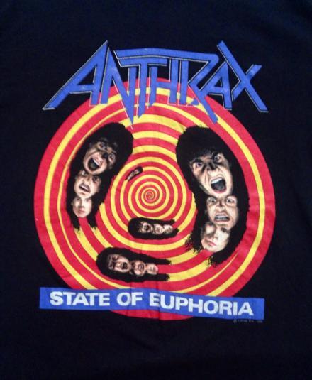 Vintage 80s ANTHRAX State Of Euphoria On Tour T Shirt