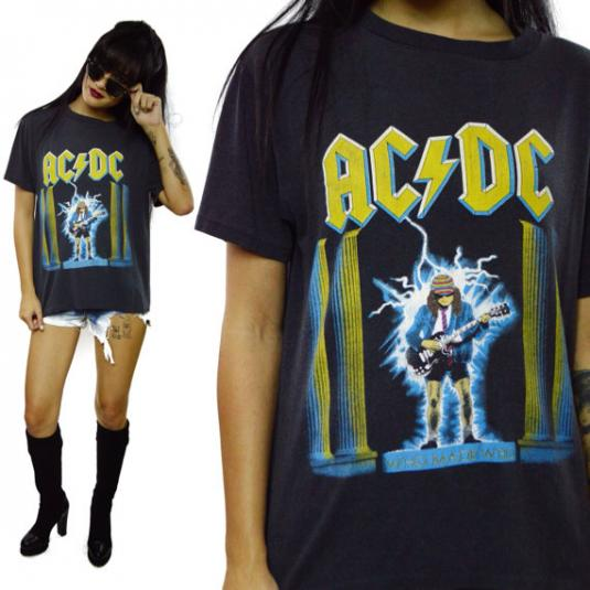 Vintage 80s AC/DC Who Made Who 50/50 T Shirt Sz L