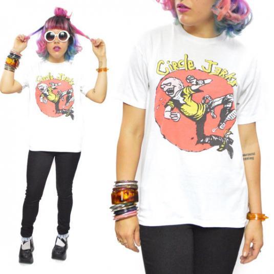 Vintage 80s Circle Jerks Skanking Man Punk Rock T Shirt Sz L