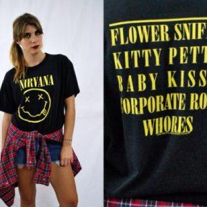 Vintage 90s NIRVANA Smiley Face T Shirt