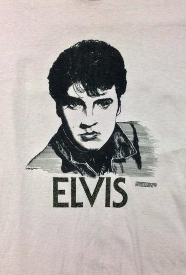 Vintage 90s ELVIS PRESLEY The King Pink Glitter T Shirt