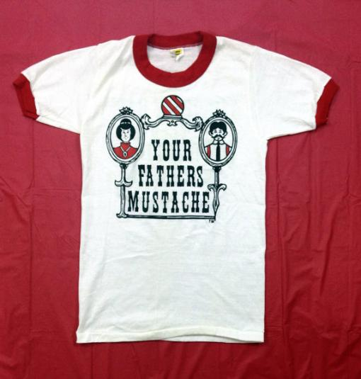 Vintage 80s YOUR FATHERS MUSTACHE Hair Salon Ringer T Shirt