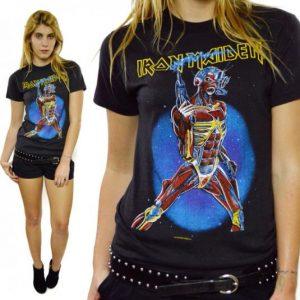 Vintage 80s Iron Maiden Somewhere On Tour 87 Eddie T Shirt
