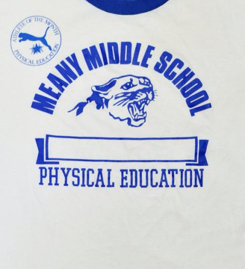 Vintage 80s Meany Middle School PE T Shirt