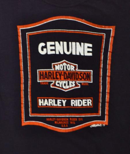 Vintage 70s Harley Davidson Motorcycles Rider Biker T Shirt