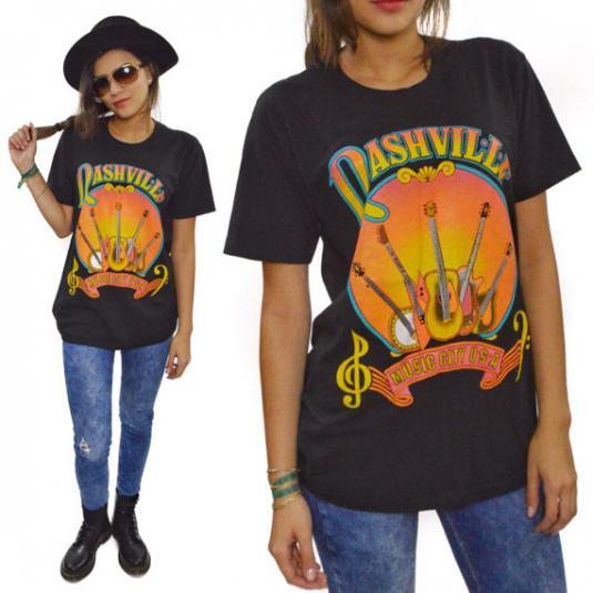 Vintage 80s Nashville Music City U.S.A. T Shirt Sz M