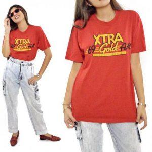 Vintage 80s XTRA 69 Gold AM Classic Oldies T Shirt Sz L