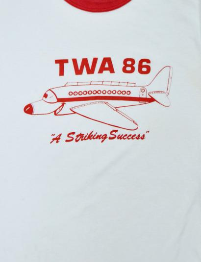 Vintage 80s TWA 86 A Striking Success Ringer T Shirt