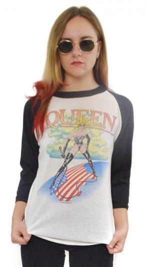 Vintage 80s Queen Rock Concert Tour Raglan T Shirt Sz L